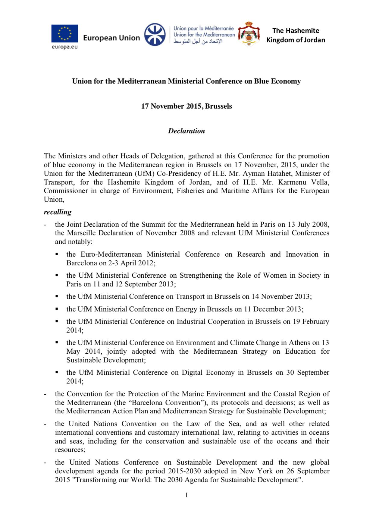 Blue Economy Declaration November 2015