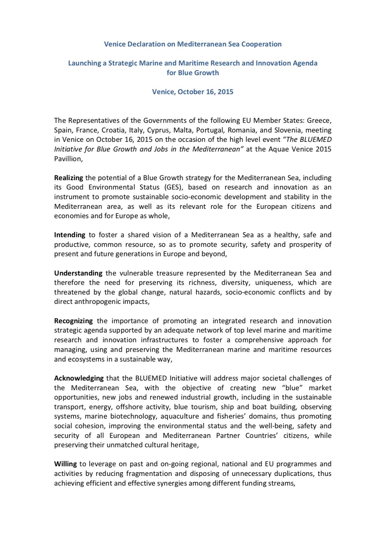 Venice Declaration October 2015