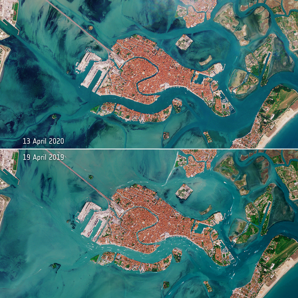 The deserted Venetian lagoon, as captured by the Copernicus Sentinel-2 mission (image credits: contains modified Copernicus Sentinel data (2019-20), processed by ESA, CC BY-SA 3.0 IGO)